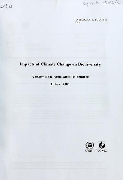 impacts of climate change on biodiversity Climate change may bring big ecosystem changes reduce biodiversity and adversely way to characterize the impacts of climate change on.
