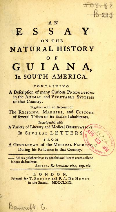 an essay on the natural history of guiana in south america