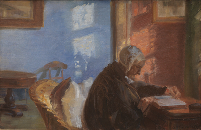 the artists mother ane hedvig brndum in the blue room anna ancher