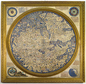 World map based largely on travel narratives such as Marco Polo's.