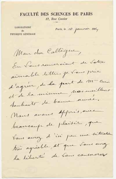 [Letter] 1905-01-10, Paris [to] Svante Arrhenius
