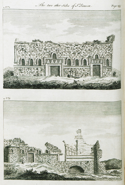 Views of two different sides of the Church of Saint Simeon Stylites, near Aleppo, Syria.