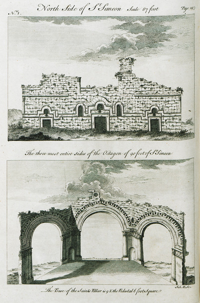 1. View of the Church of Saint Simeon Stylites, near Aleppo, Syria. 2. Bottom view of the base of the columns together with views of the columns and the arches of the Church of Saint Simeon Stylites.