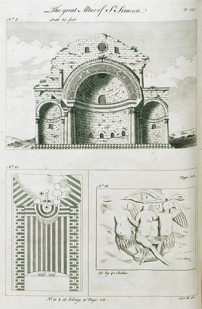 1.View of the great altar at the Church of Saint Simeon Stylites, Syria. 2. Funerary stele from Hierapolis, near Aleppo, Syria. 3. Fragment of relief from Hierapolis.