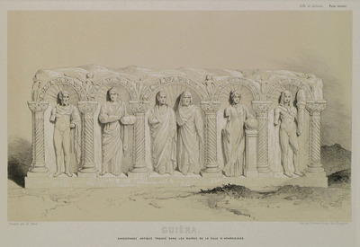 Roman sarcophagus bearing a relief of human figures from Aphrodisias in Caria.