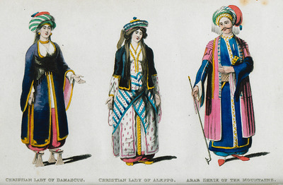 1. Christian lady of Damascus. 2. Christian lady of Aleppo. 3. Arab sheik from Syria.