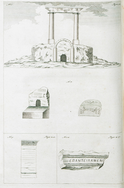 1. Corinthian columns of entrance to a catacomb at Shaykh Barakat, near Aleppo, Syria. 2. The entrance to the catacomb of a certain Roman soldier, together with funerary stele at Shaykh Barakat. 3. Stele from the Roman theater of Cyrrhus, ancient city near Aleppo. 4. Fragment of relief from Hierapolis.