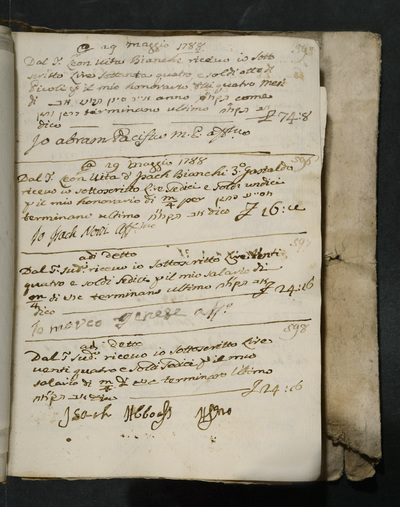 Receipts nos.  595-598 : no. 595, 29 May 1788, Abram Pacifico acknowledges receiving his honorarium of four months from Leon vita Bianchi ; no. 596, same date, Isach Norzi acknowledges receiving his honorarium from the gastald, Leon Vita and Isach Bianchi ; no. 597, same date, Marco Genese acknowledges receiving his salary from the above ; no. 598, same date, Isach Abboasi acknowledges receiving his salary from the above