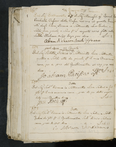 Receipts nos. 650-653 : no. 650, 24 June 1791, Abram di Sanson Bachi acknowledges receiving reimbursement from Manasse di Jacob Pincherle, cassier of the house [Hebrew word] of the university of the Jews ; no. 651, 22 August [1791], Abram Pacifico acknowledges receiving his honorarium from Saul Levi Morterra ; no. 652, same date, Isach Norzi acknowledges receiving his honorarium from the above ; no. 653, same date, Abram Veneziano acknowledges receiving his salary from the above