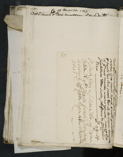 Receipt no. 615 :  Isach Norzi, signing for the wife of Marco Genese who cannot write,  acknowledges reimbursement from Abram Pacifico for his husband, nonzolo giubilante of the scola italiana of this city