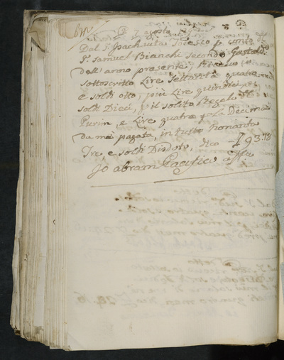 Receipt no. 672 : Abram Pacifico receiving the usual gift for Purim [and another sum] from  T. Isach vita Todesco [acting for?] T. Samuel Bianchi, second gastald of the year