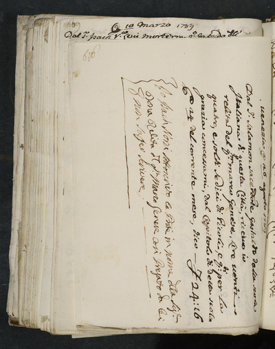 Receipt no. 616 : for the request of the wife of Marco Genese who cannot write, Isach Norzi acknowledges reimbursement from Salamon Sacerdote, gastald of the scola italiana of this city, for Marco Genese