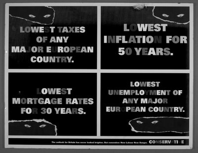Quartered poster featuring Posters 1997-22, 23, 24 in 3 of 4 segments, and a fourth as: Lowest taxes of any major European country [Glowing red eyes peering out from behind an apparent rip in the poster].