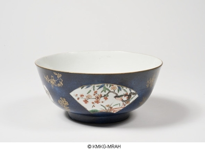 Bowl in powderblue and gilding, fan shaped reserved pannels decorated in famille verte enamels