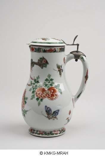 Covered beer jug after a European model, in famille verte, with a European silver mount