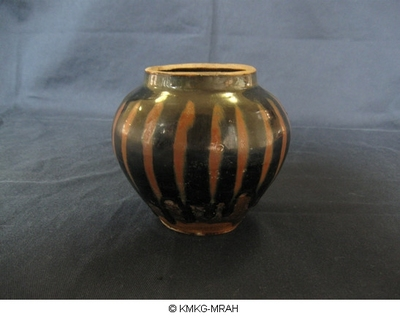 Small maroon vase decorated with rust coloured stripes