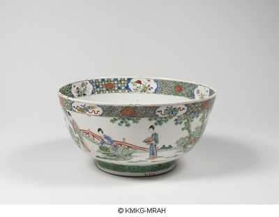 Large bowl decorated with Chinese ladies in a garden