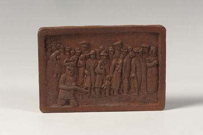 Nazi Soldier with Jews (terracotta relief)