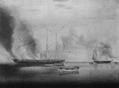 The steamship 'Glasgow' on fire off Nantucket, 31 July 1865: passengers and crew rescued by the 'Rosamund'