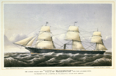 The Screw Steam Ship City of Washington 2380 tons 450 horse power, the Property of the Liverpool & Philadelphia Steam Ship Company
