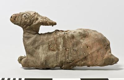 An image showing a mummified gazelle in a seated position