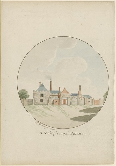 [Watercolour painting of the 'Archiepiscopal Palace' (Archbishop of Dublin's residence, Kevin Street, Dublin) / by Gabriel Beranger.]