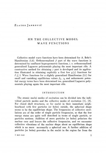 On the collective model wave functions