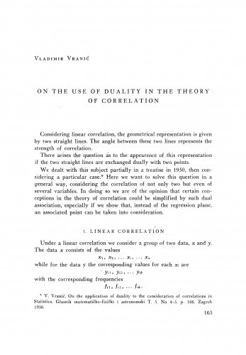 On the use of duality in the theory of correlation