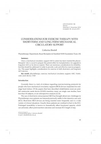 Considerations for exercise therapy with short-term and long-term mechanical circulatory support