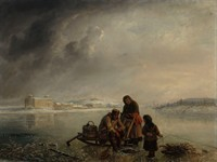 Painting from 1872 depicting winter fishing in Turku
