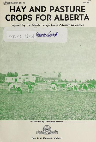 Hay and pasture crops for Alberta /