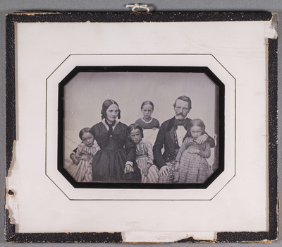 Portrait of Architech Jean Weibel with his wife and four children, from Switzerland. Edv. Hugo Sirén's great grand parents.