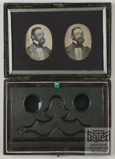 Stereodaguerreotype. Portrait of a man. Twoo lenses for viewing.