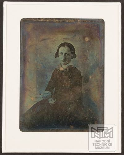 portrait of a woman adjustment in new mat and cover glass - for preservation