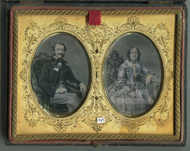 Tinted portrait of a husband and a wife in a double mat