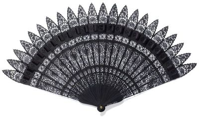Fan, cast iron, made under the direction of Edward Schott at Ilsenburg-am-Harz, Germany, and shown at the International Exhibition of 1862. Fan, cast iron, filigree with floral and architectural motifs. The individual blades held together with ribbon at the top and a pin at the bottom.  Cast iron.