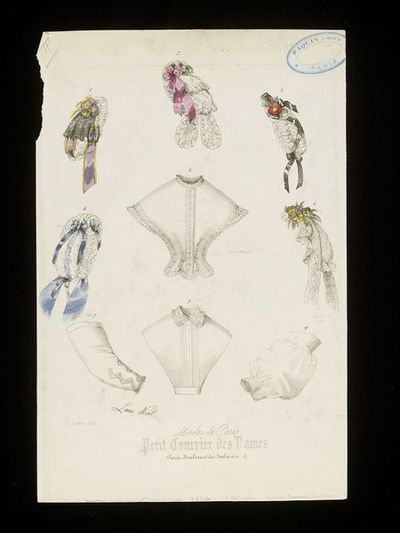 Laure Noël. Caps, tuckers and engageantes (undersleeves). Petit Courrier des Dames, January 1864. Selection of caps trimmed with lace, flowers and ribbons, with two chemisettes and two individual undersleeves