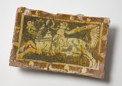 Tile depicting Saladin, broken in two pieces, dating to the 13th century.