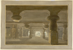Interior of the Great Shiva Cave, Elephanta, looking north towards the entrance