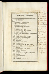 An Almanac For The Island Of Tobago- Table Of Contents