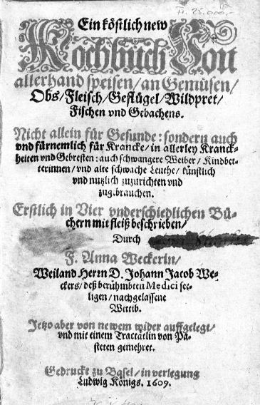 One of the first cookery books in Germany written by a woman