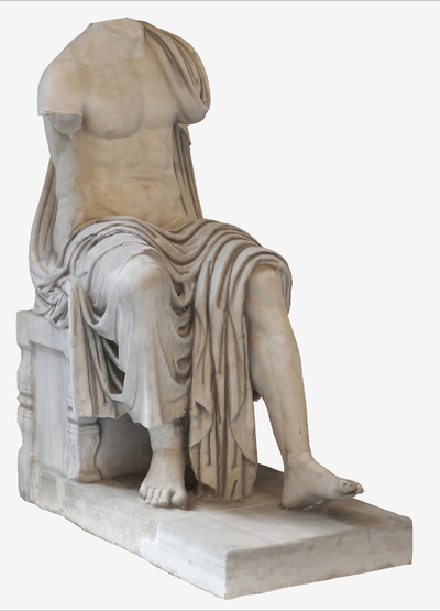 Images of 3D model of statue of seated Claudio