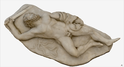 3D model of statue of falling Gigante