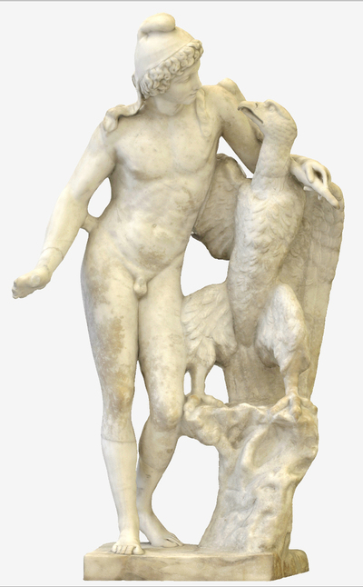 3D model of statue of Ganimede with eagle