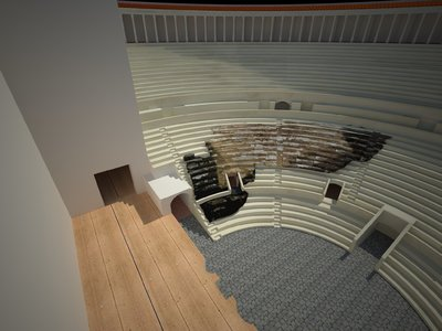 3D model of Roman Theatre of Naples with Cavea and Buttresses