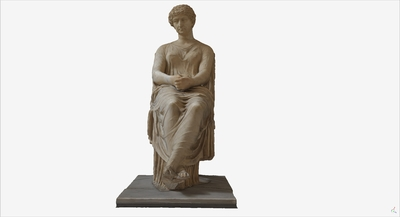 Images of 3D model of statue of seated Agrippina