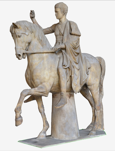 Images of 3D model of statue of the Son of Marco Nonio Balbo