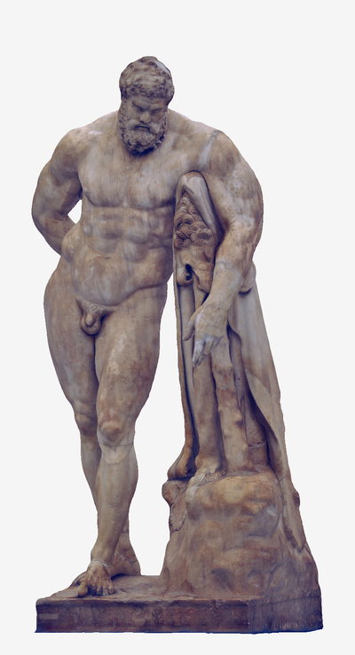 Images of 3D model of statue of Ercole Farnese