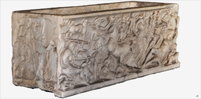 Images of 3D model of sarcophagus of Artemide and Endimione