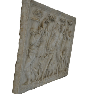 Images of 3D model of relief of drunk Dioniso  among Satires and danzing Women